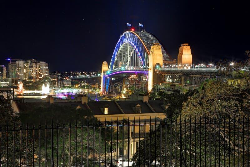 Sydney Harbour Bridge in vibrant colour during Vivid royalty free stock image