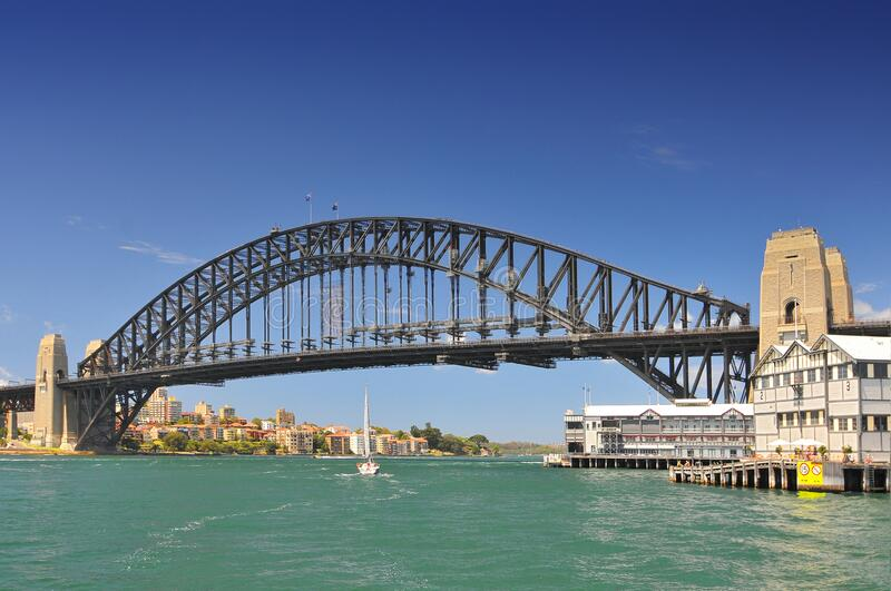 Sydney Harbour Bridge view from ferry, Sydney, Australia.  stock images