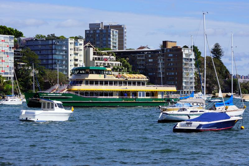 Sydney Harbour Ferry, Double Bay, Sydney, Australia. A Sydney Harbour passenger ferry amongst moored recreational boats in Double Bay, Sydney Harbour, NSW royalty free stock photo