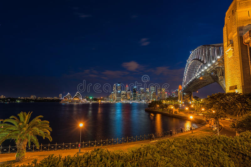 Sydney Harbour at night viewed from Milsons Point in North Sydney Australia. FEB 15,2017 Sydney Harbour is a beautiful meandering waterway, famous around the stock image