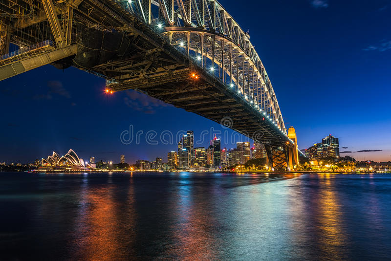 Sydney Harbour at night viewed from Milsons Point in North Sydney Australia. FEB 15,2017 Sydney Harbour is a beautiful meandering waterway, famous around the royalty free stock photos