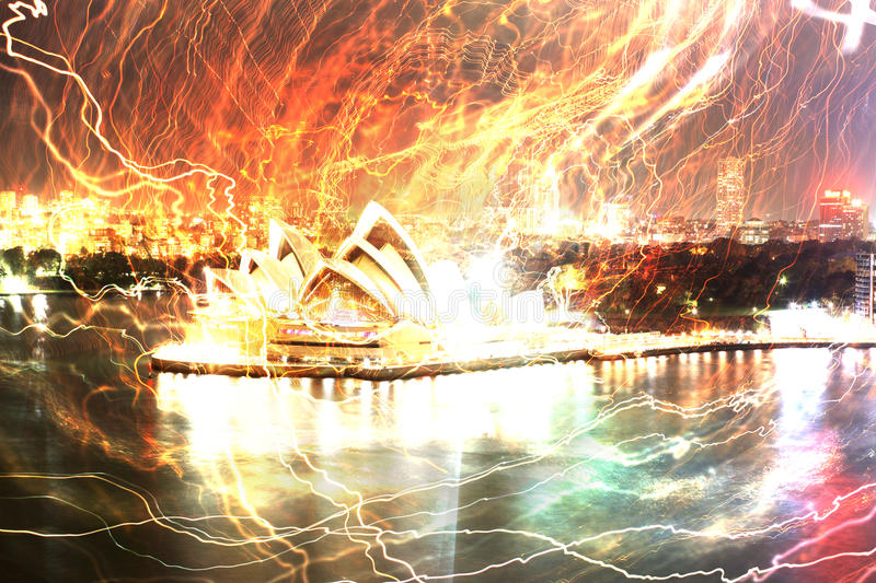 Sydney Harbour with Opera House royalty free illustration