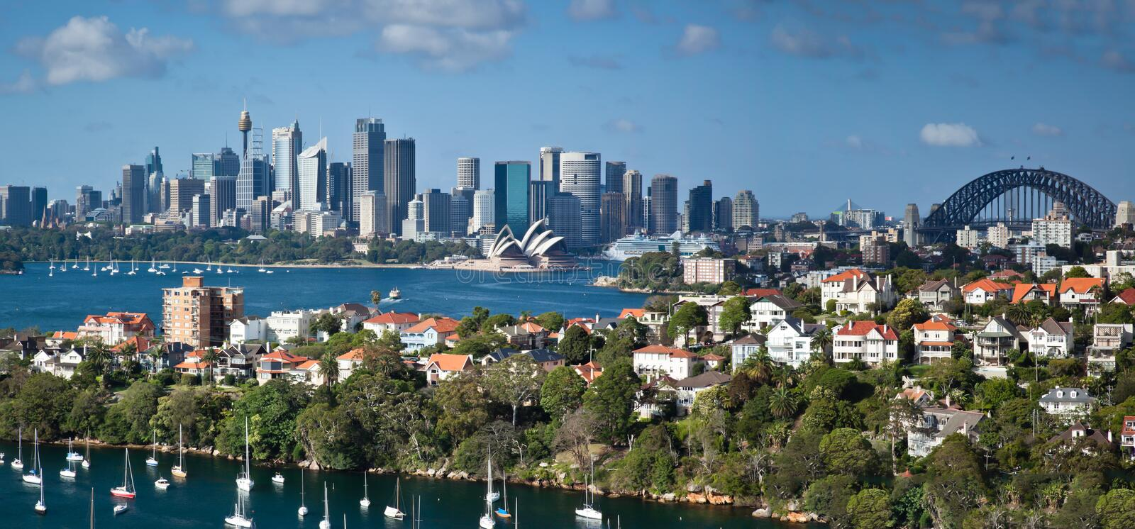 Sydney harbour panorama royalty free stock images