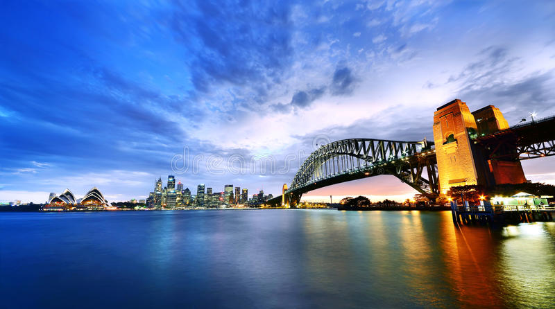 Sydney Harbour Panorama at dusk. Sydney Harbour Panorama viewed from Kirribilli in North Sydney at dusk stock photo