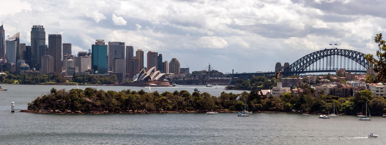 Sydney harbour and skyline royalty free stock photo