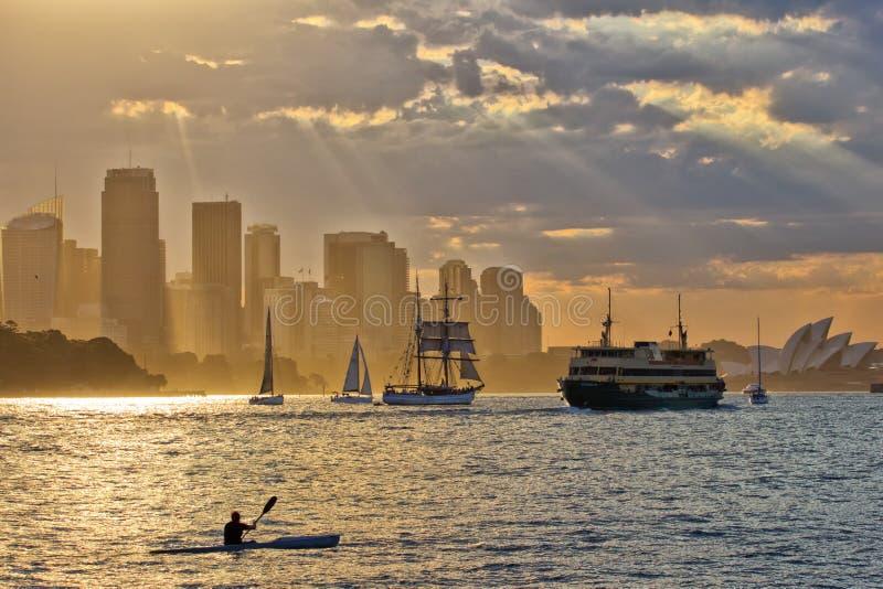 Sydney Harbour Sunset royaltyfri foto