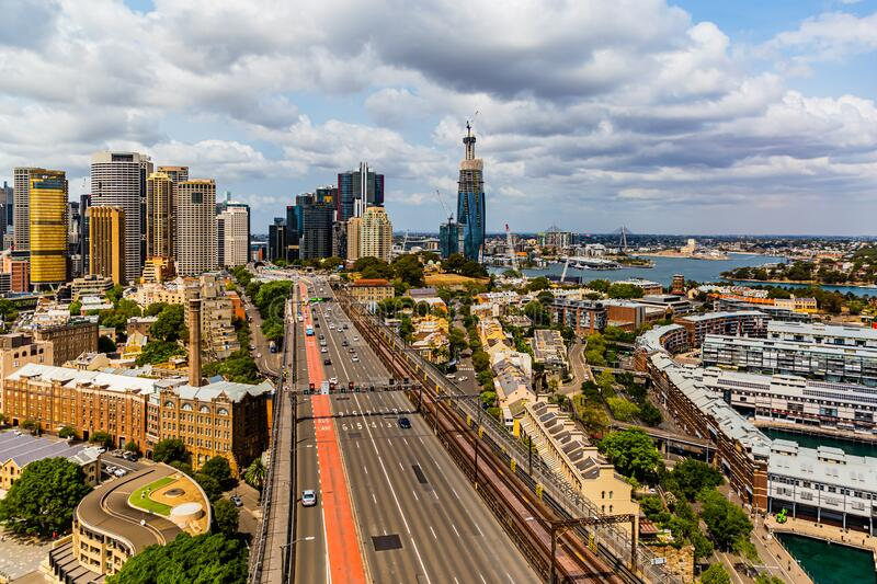Sydney Iconic Harbor Bridge and North Western business district ; Sydney New South Wales Australia. Iconic Sydney Harbor Bridge  and the North Western Sydney stock photo