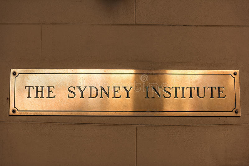 The Sydney Institute golden door plate stock photo