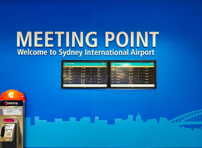 Meeting Point and Departure Boards, Sydney International Airport,, Australia royalty free stock images