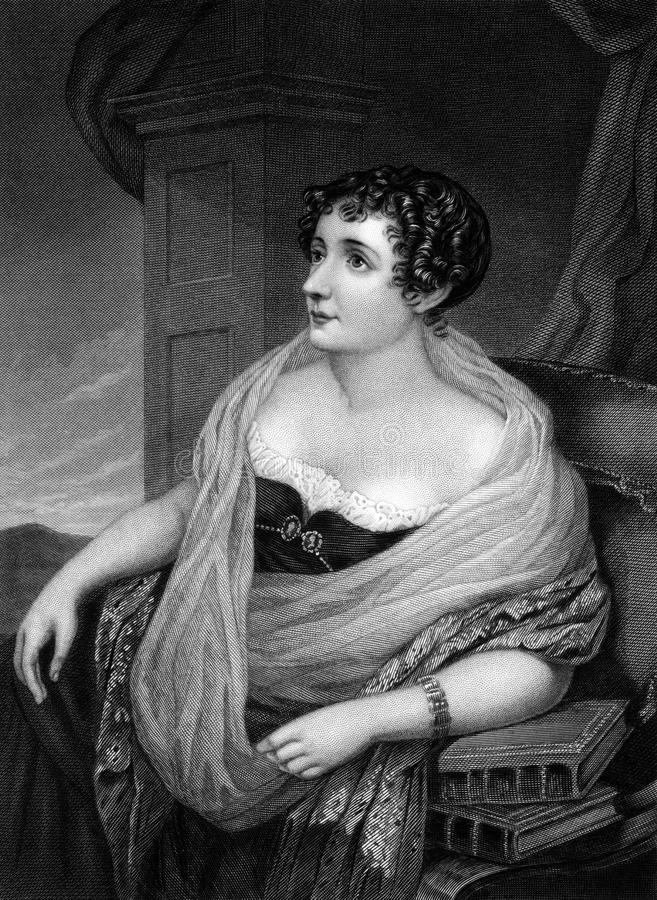 Sydney, Lady Morgan. (1781-1859) on engraving from 1874. Irish novelist. Engraved after a drawing by S.Lover and published in The Masterpiece Library of Short royalty free stock images