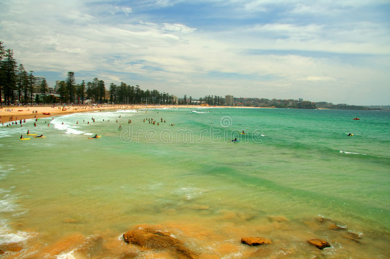 Manly Beach in Sydney. Scenic view of Manly beach in Sydney, Australia stock image