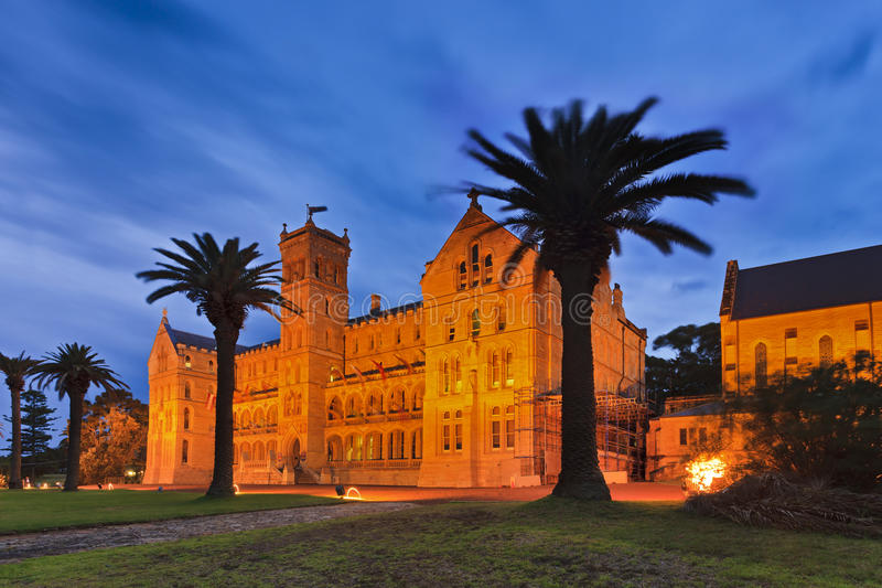 Sydney Manly College Side sunset. Australia NSW Sydney manly International college of management historic building of main campus at sunset stock photography