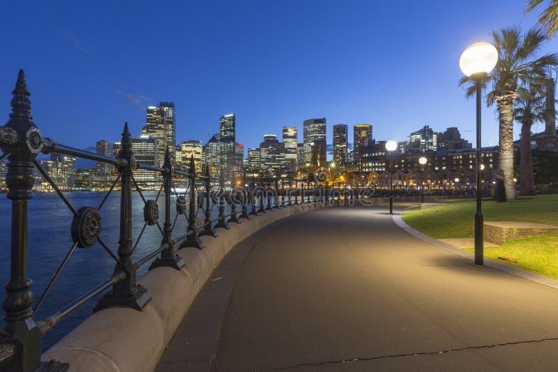 Sydney miasta architektura przy nocą zdjęcie stock