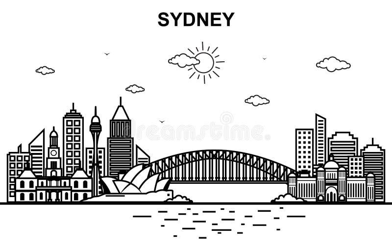 Sydney miasta Australia pejzażu miejskiego linia horyzontu linii konturu ilustracja ilustracji