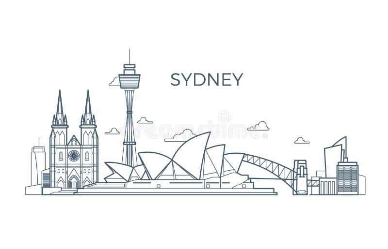 Sydney miasta linii linia horyzontu z budynkami i architektur showplaces Australia podróży wektoru światowy punkt zwrotny ilustracji