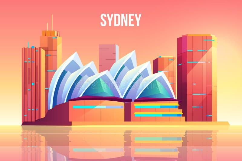 Sydney miasto z opera teatru linia horyzontu, Australia ilustracja wektor