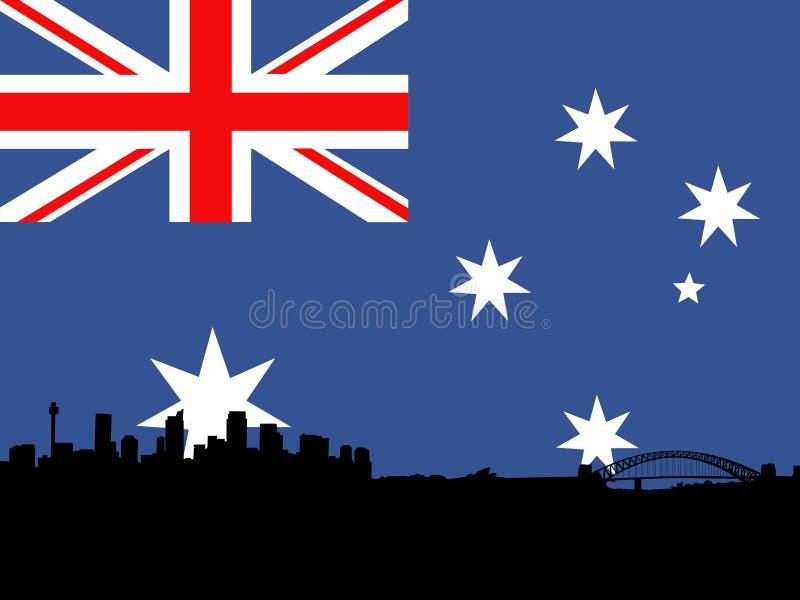 Sydney mit australischer Markierungsfahne stock abbildung