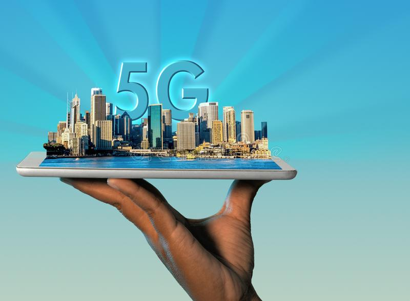 Sydney a modern smart city coming out of a digital tablet and 5G text behind city skyline. Technology and modern telecommunications innovation concept image royalty free stock photos