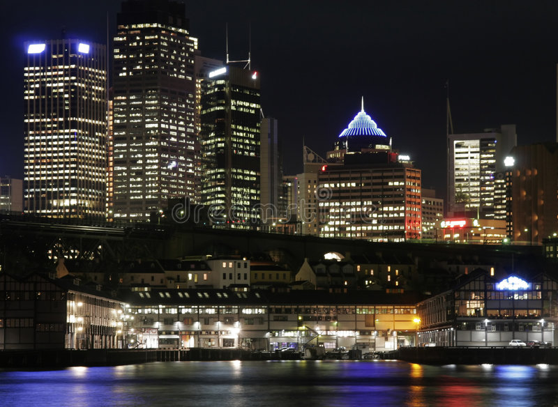 Sydney na noite fotos de stock