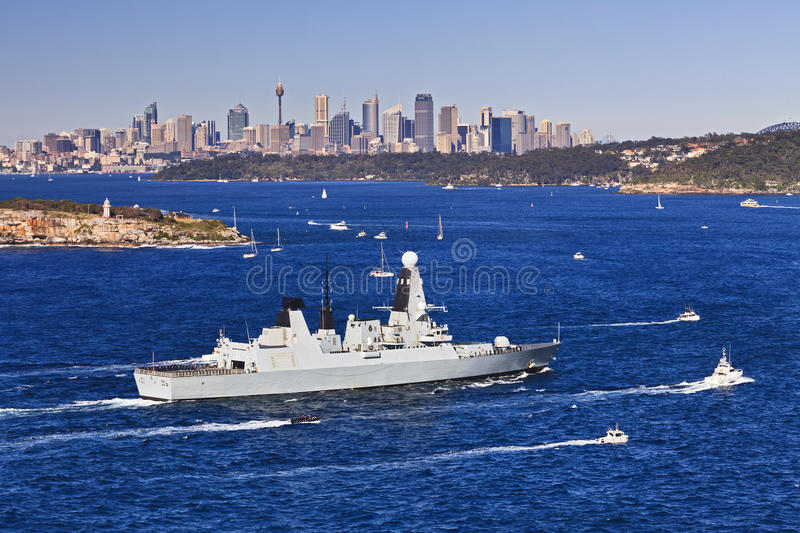 Sydney Navy 2 Harbour Head. Australia Sydney Harbour HMS military sheep entering as part of Australian Navy international fleet review celebration royalty free stock photos