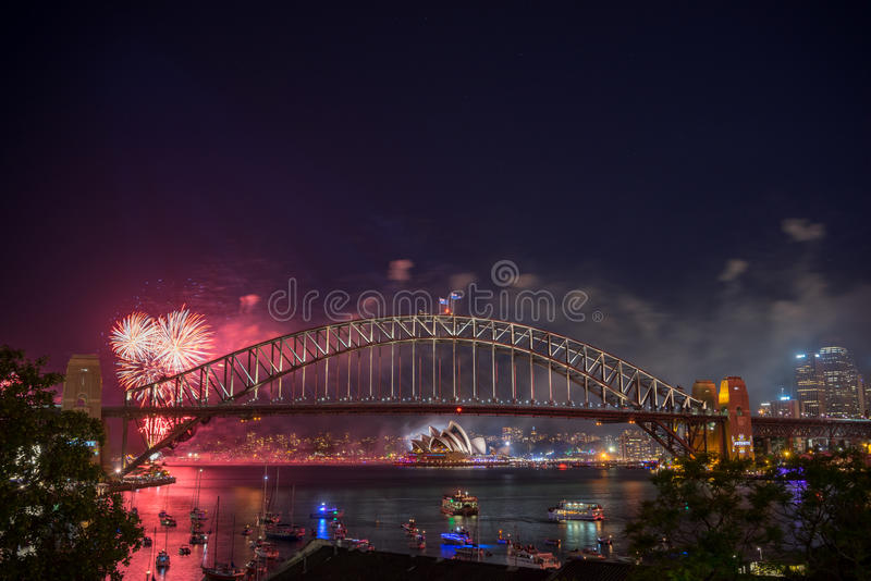 Sydney New Year Eve Fireworks toont royalty-vrije stock fotografie