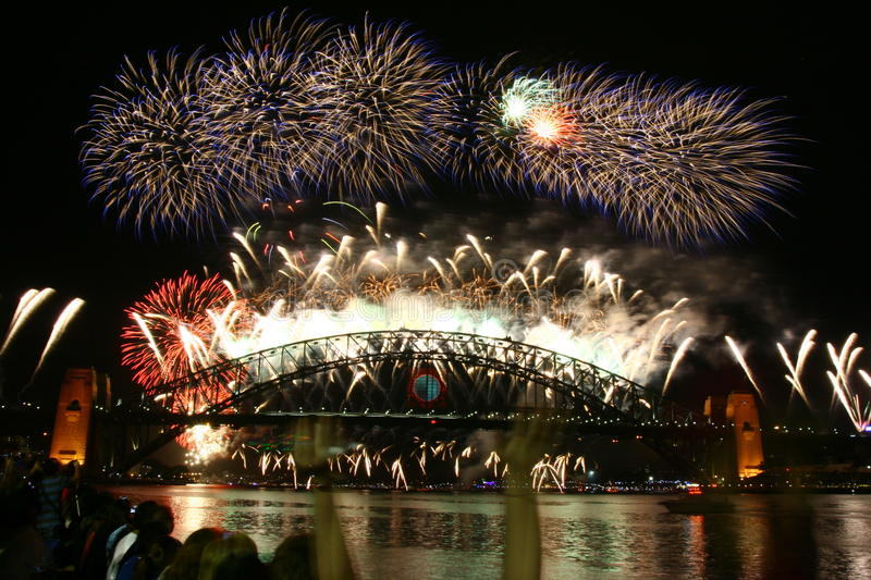 Sydney New year firework. The breath taking fireworks light up the harbour in the new year eve royalty free stock image