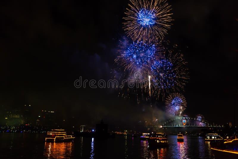 Sydney New Years Feuerwerke Eves 2015 stockfoto