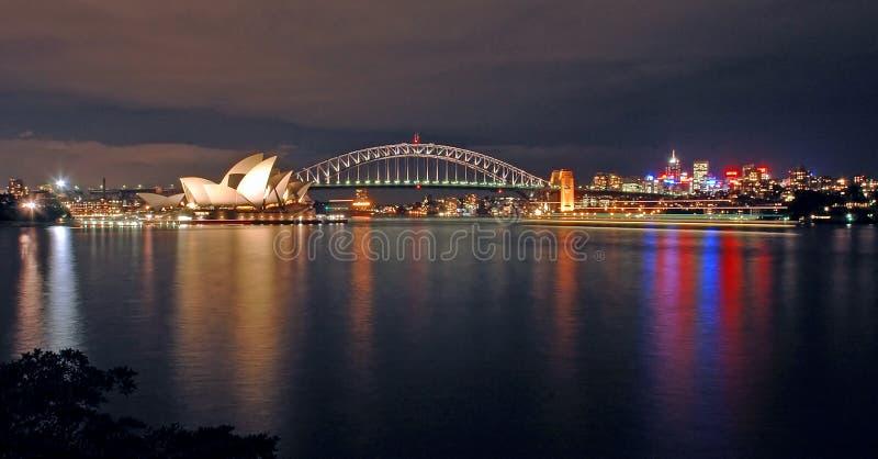 Sydney night skyline royalty free stock images