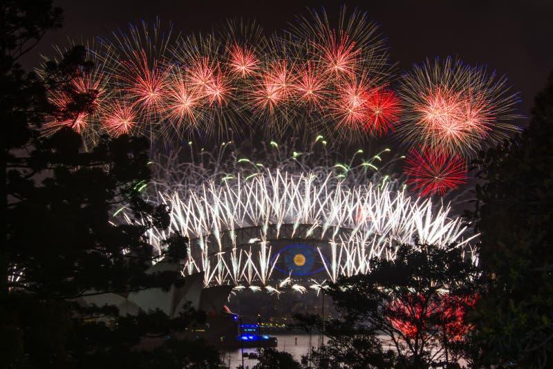 Sydney nowy rok wigilia 2013 - schronienie opera i most zdjęcie royalty free