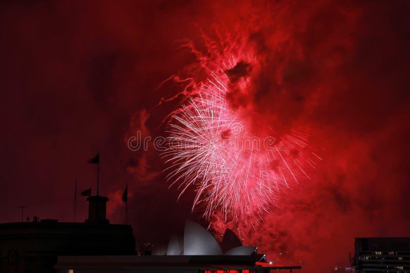 2018 Sydney NYE fajerwerki zdjęcia royalty free
