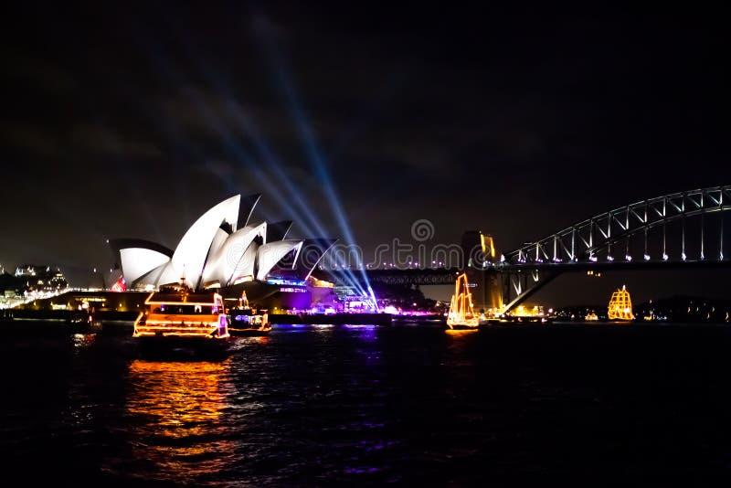 Sydney NYE 2015 théatres de l'opéra images stock