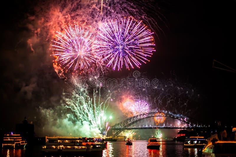 Sydney NYE 2015 Vuurwerk stock foto's