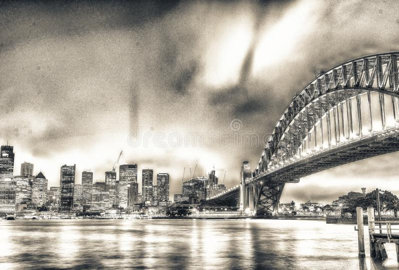 SYDNEY - OKTOBER 2015: Sydney Harbour Bridge Sydney tilldrar 20 arkivfoton