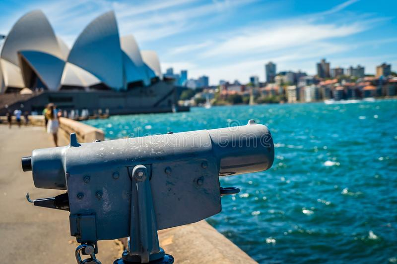 Sydney opera and binoculars in the summer stock photos