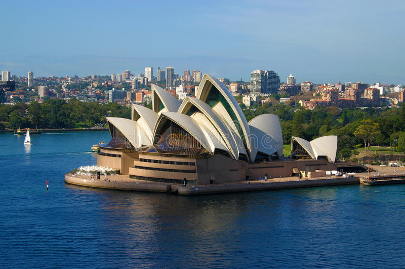 sydney opera house aerial view from harbour bridge editorial stock image image of buildings. Black Bedroom Furniture Sets. Home Design Ideas