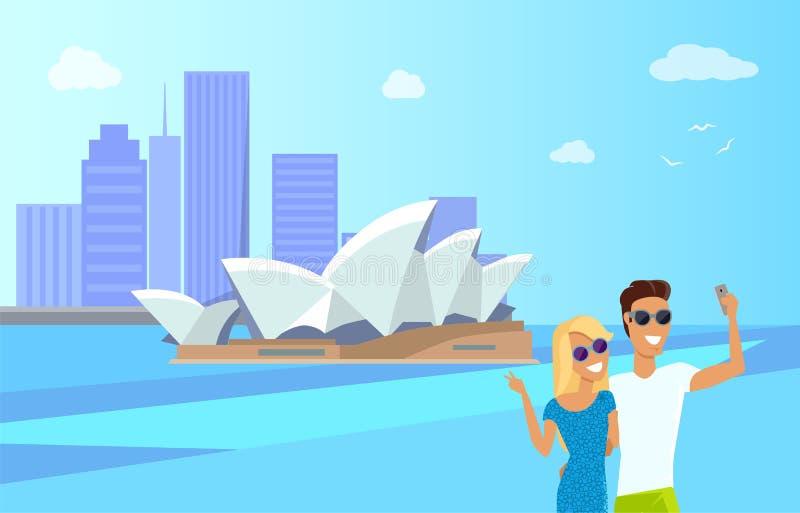 Sydney Opera House Attraction Vector illustration royaltyfri illustrationer