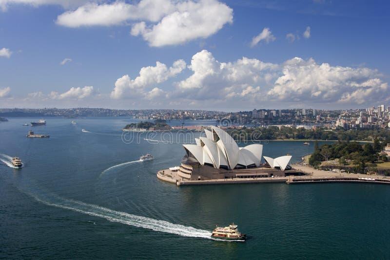 Sydney Opera House - Australia. High level view of the Sydney Opera House in the city of Sydney in Australia