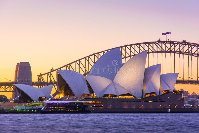 Sydney Opera House and Bridge Iconic Sunset, Australia royalty free stock photo