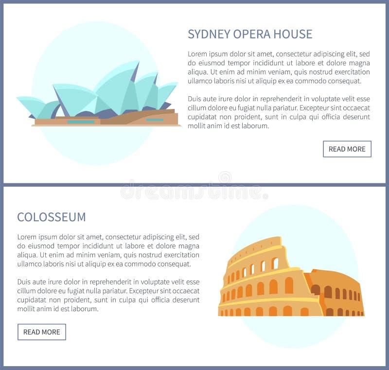 Sydney Opera House Colosseum vektorillustration royaltyfri illustrationer