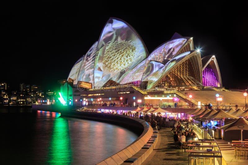 Sydney Opera House com 'iluminação relevante de Sydney vívido ' foto de stock royalty free