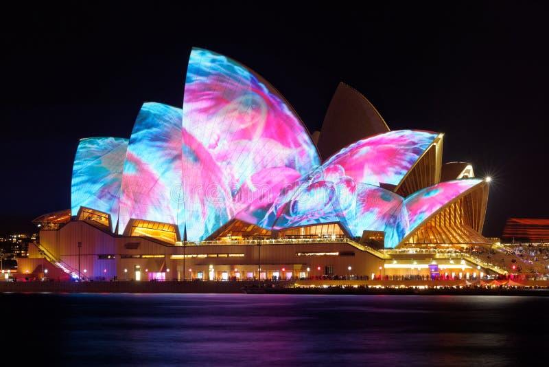 Sydney Opera House com Sydney vívido imagem de stock royalty free