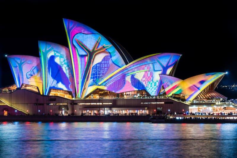 Sydney Opera House durante o festival vívido de Sydney foto de stock