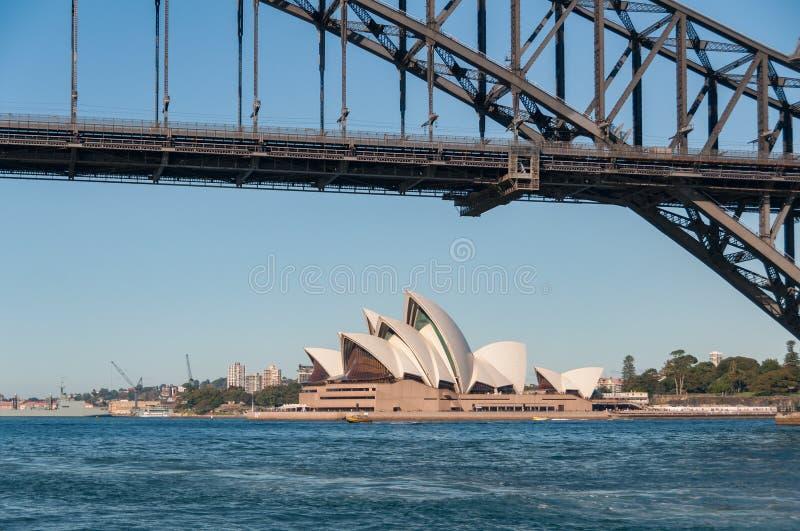 Sydney Opera House with Sydney Harbour Bridge on sunny day royalty free stock images