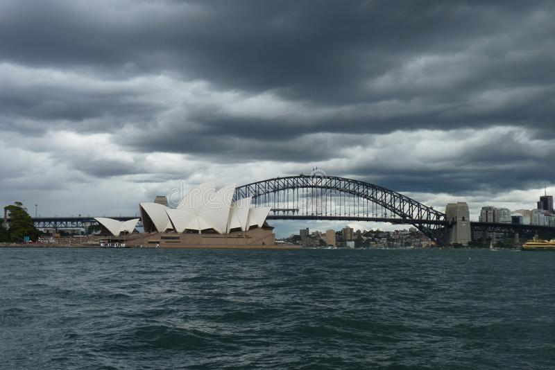 The Sydney Opera House and the harbour bridge the view from the botanic garden stock photos