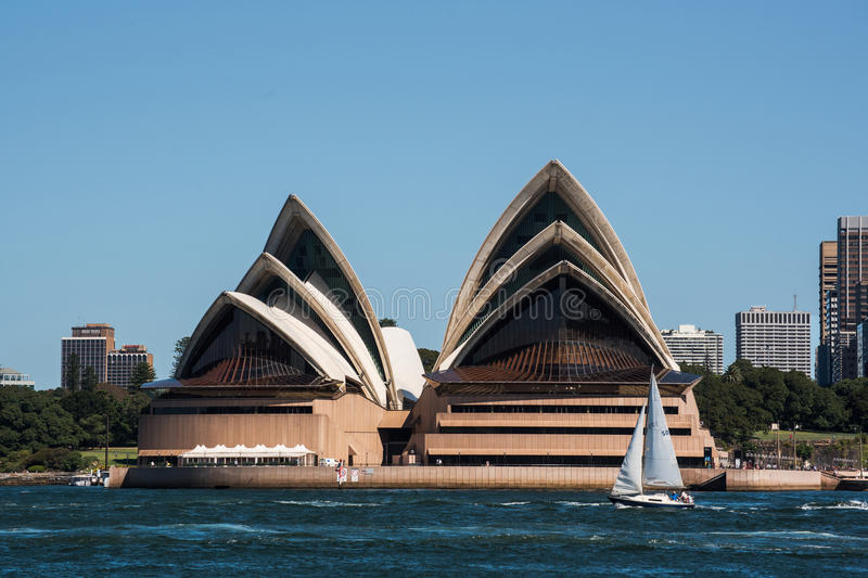 Sydney opera house and skyscrpers stock photo