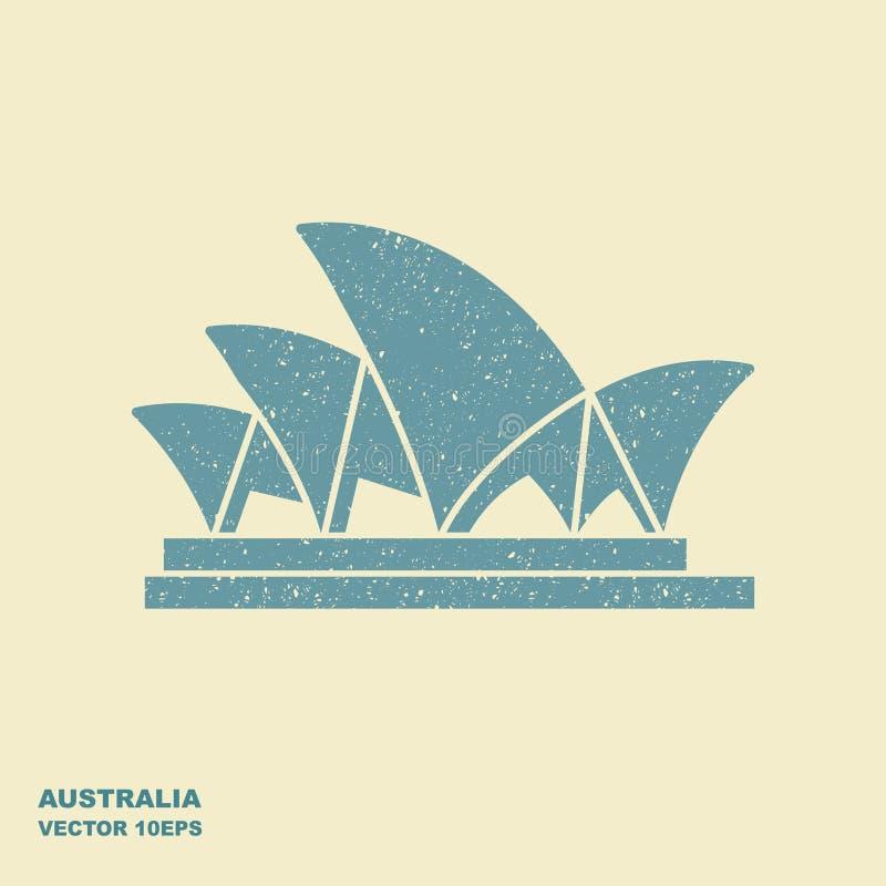 Sydney Opera House stiliserade symbolen i plan stil stock illustrationer
