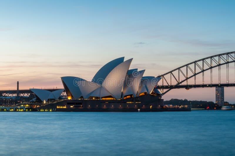 Sydney Opera House and Sydney Harbour bridge at blue hour stock photo