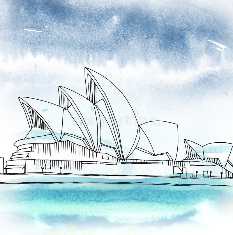 Sydney Opera House Sydney New South Wales, Australien royaltyfri illustrationer