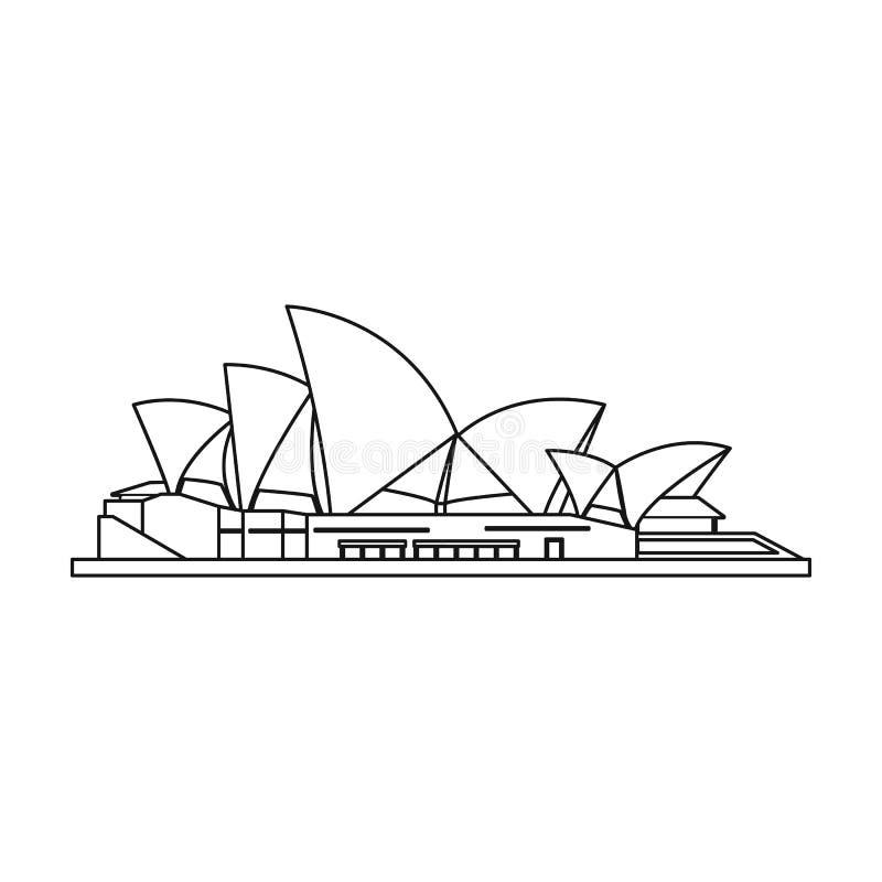 Sydney Opera House symbol i översiktsstil som isoleras på vit bakgrund royaltyfri illustrationer