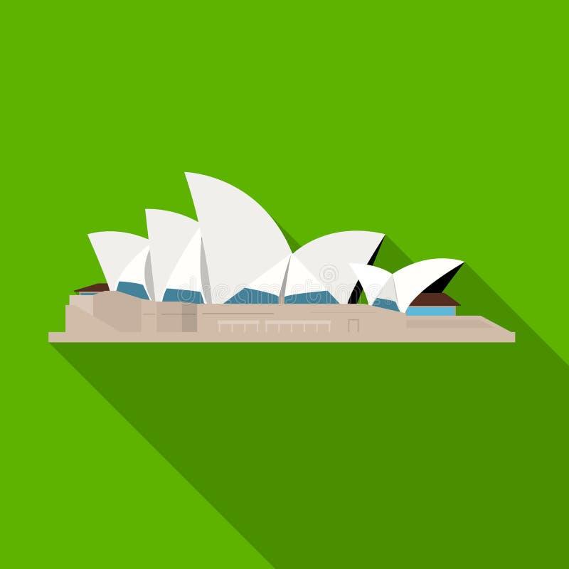 Sydney Opera House symbol i plan stil som isoleras på vit bakgrund Illustration för vektor för landssymbolmateriel royaltyfri illustrationer